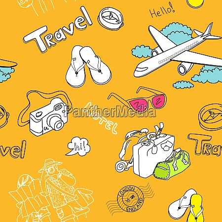 conceptual travel seamless pattern
