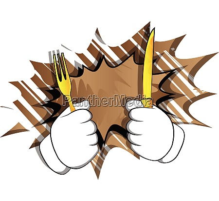 cartoon hand holding up a knife