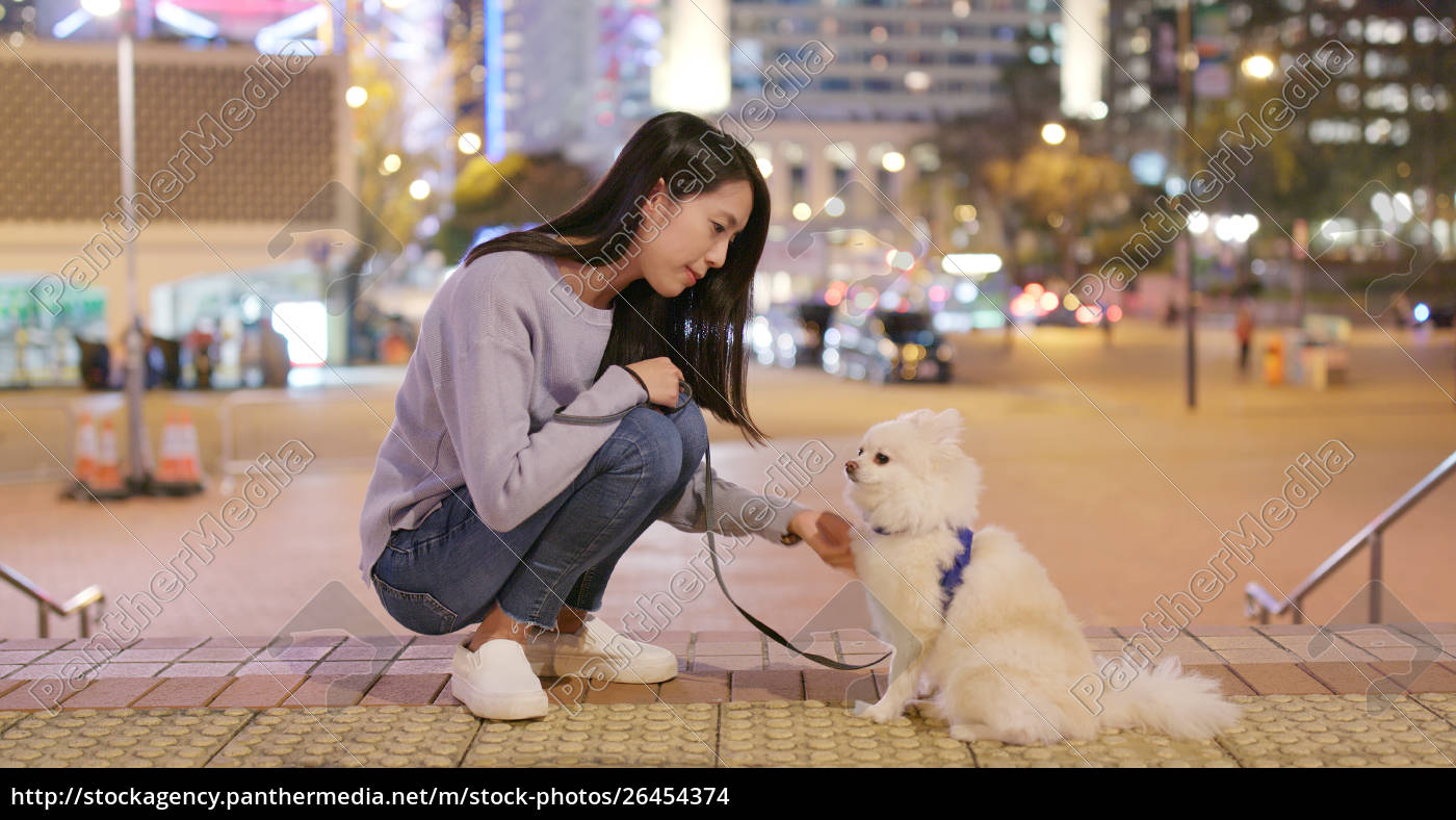 woman, go, out, with, her, dog - 26454374
