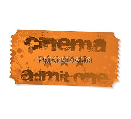 orange grunge illustrated cinema admit one