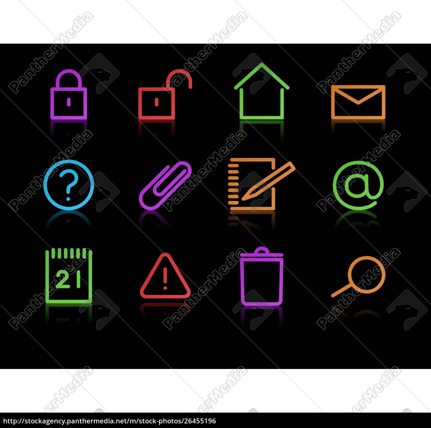 vector, set, of, elegant, neon, simple - 26455196