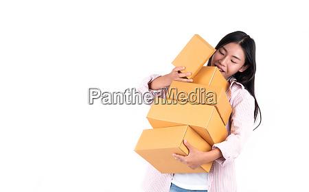 woman holding parcel box