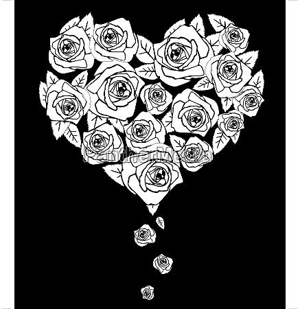 valentines heart on black vector