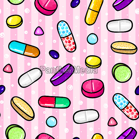 seamless pattern with lot of pills