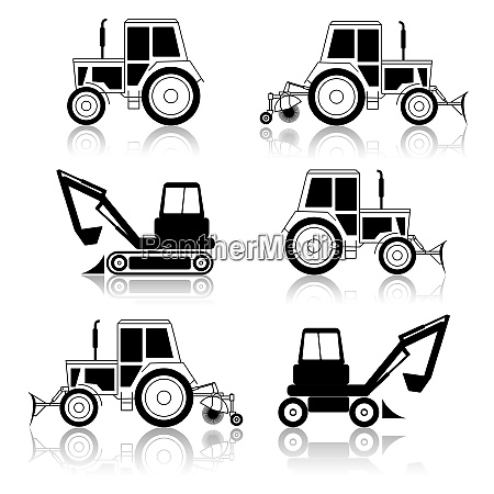 vector excavator end bulldozer isolated on