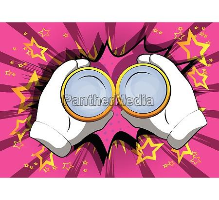 cartoon hand holding a binocular to