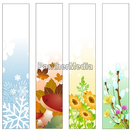 vector illustration of colorful four seasons