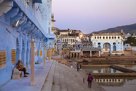 bathing ghats pushkar rajasthan india asia