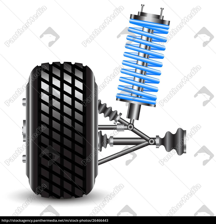 car, suspension, , frontal, view., vector, illustration - 26466443