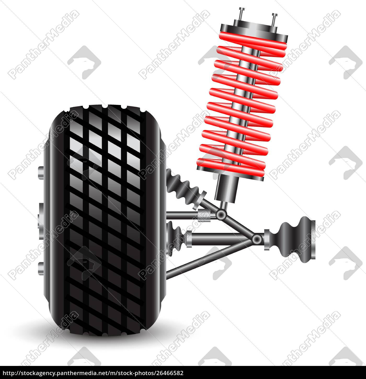 front, car, suspension., vector, illustration - 26466582