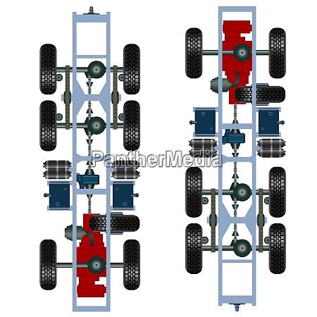 truck suspension top view vector illustration