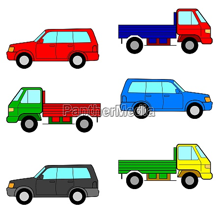 set cars trucks and cars vector