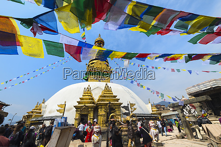 swayambunath or monkey temple central stupa