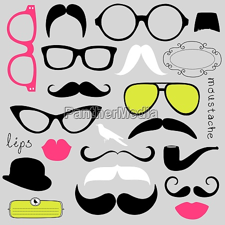retro party set sunglasses lips