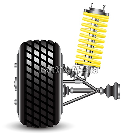 front, car, suspension, , frontal, view., vector - 26467135