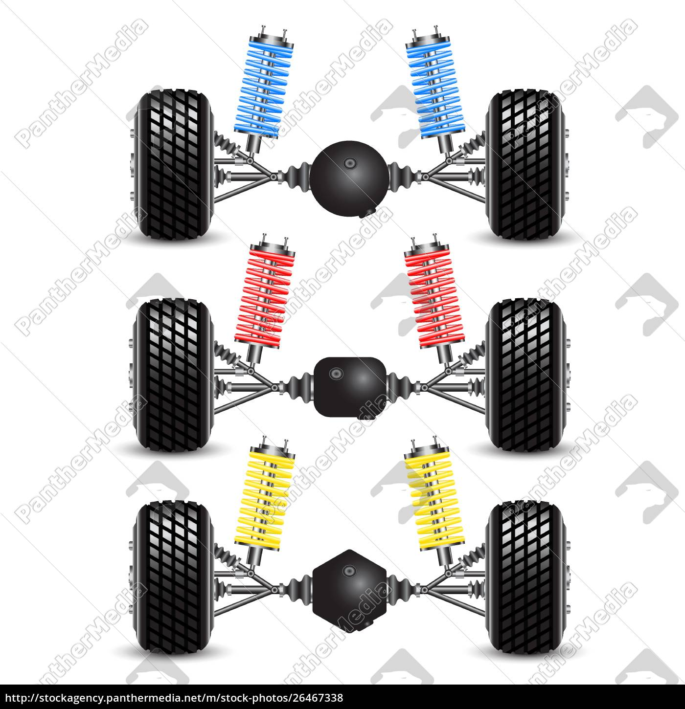 set, rear, suspension, car, with, different - 26467338