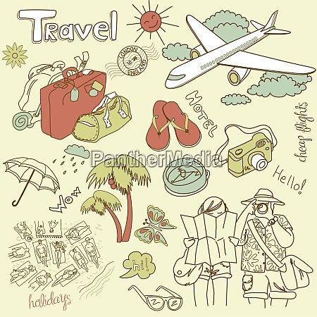 travel doodles vector illustration