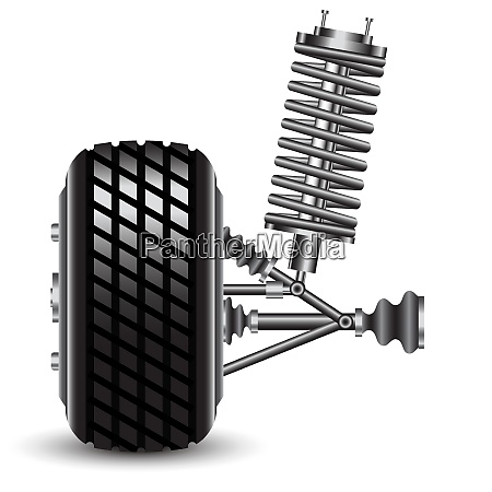 front, car, suspension, , frontal, view., vector - 26469279