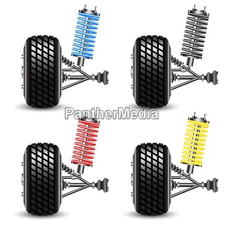 set, , car, suspension, , frontal, view. - 26469651