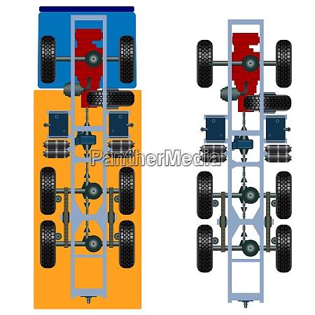 truck, suspension, , top, view., vector, illustration - 26469273