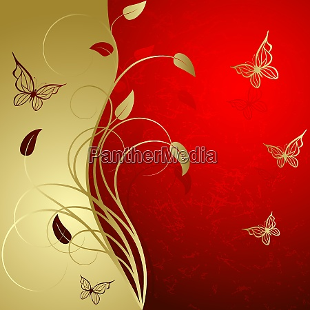 red background with elegance gold