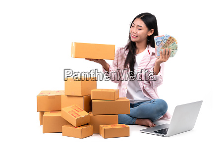 woman working sell online