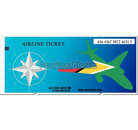vector illustration ticket to guyana