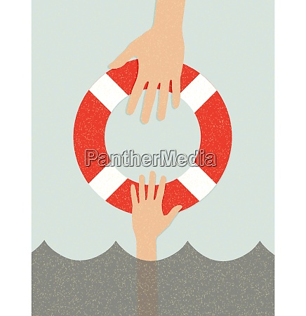 life buoy and hands in water