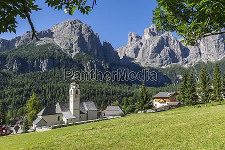 morning view of colfosco calfosch church