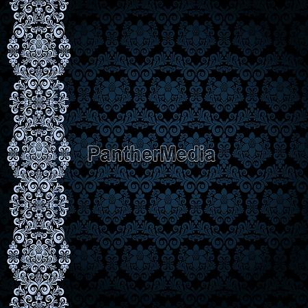 black background with bluer flowers and
