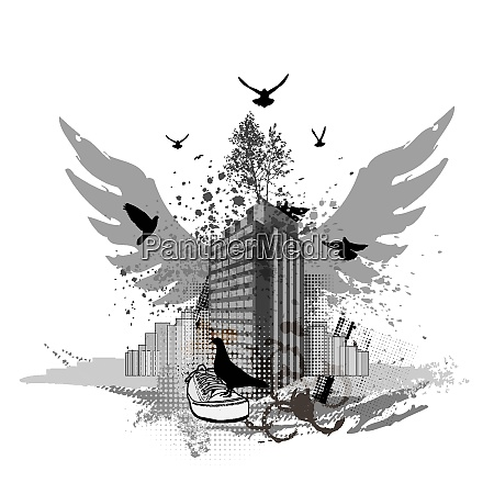 grunge urban background cityscapes and flying
