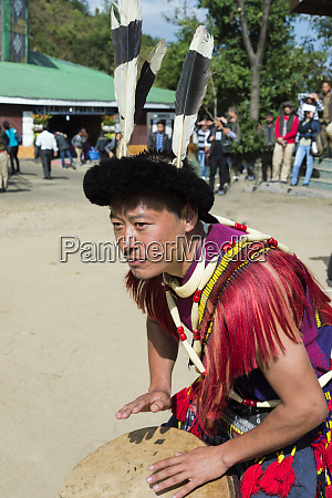naga tribal man in traditional outfit