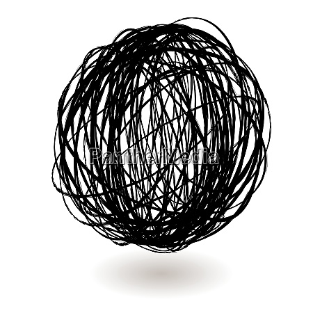 scribble, ball, icon, circle, with, a - 26479786