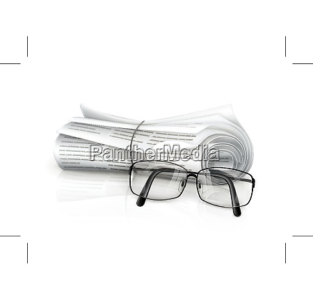 newspaper and glasses