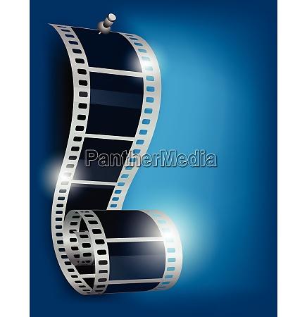 film reel with stud on blue