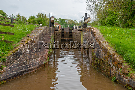 view from a narrowboat approaching a