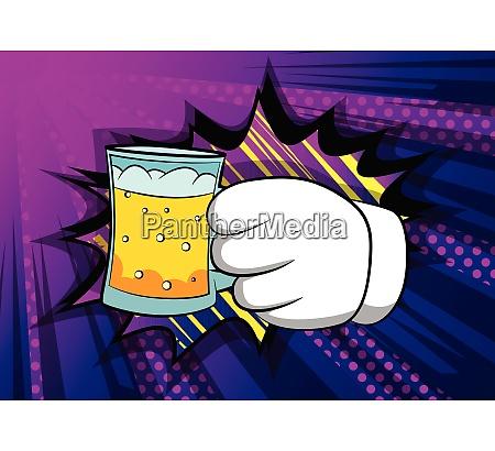 cartoon hands holding a beer