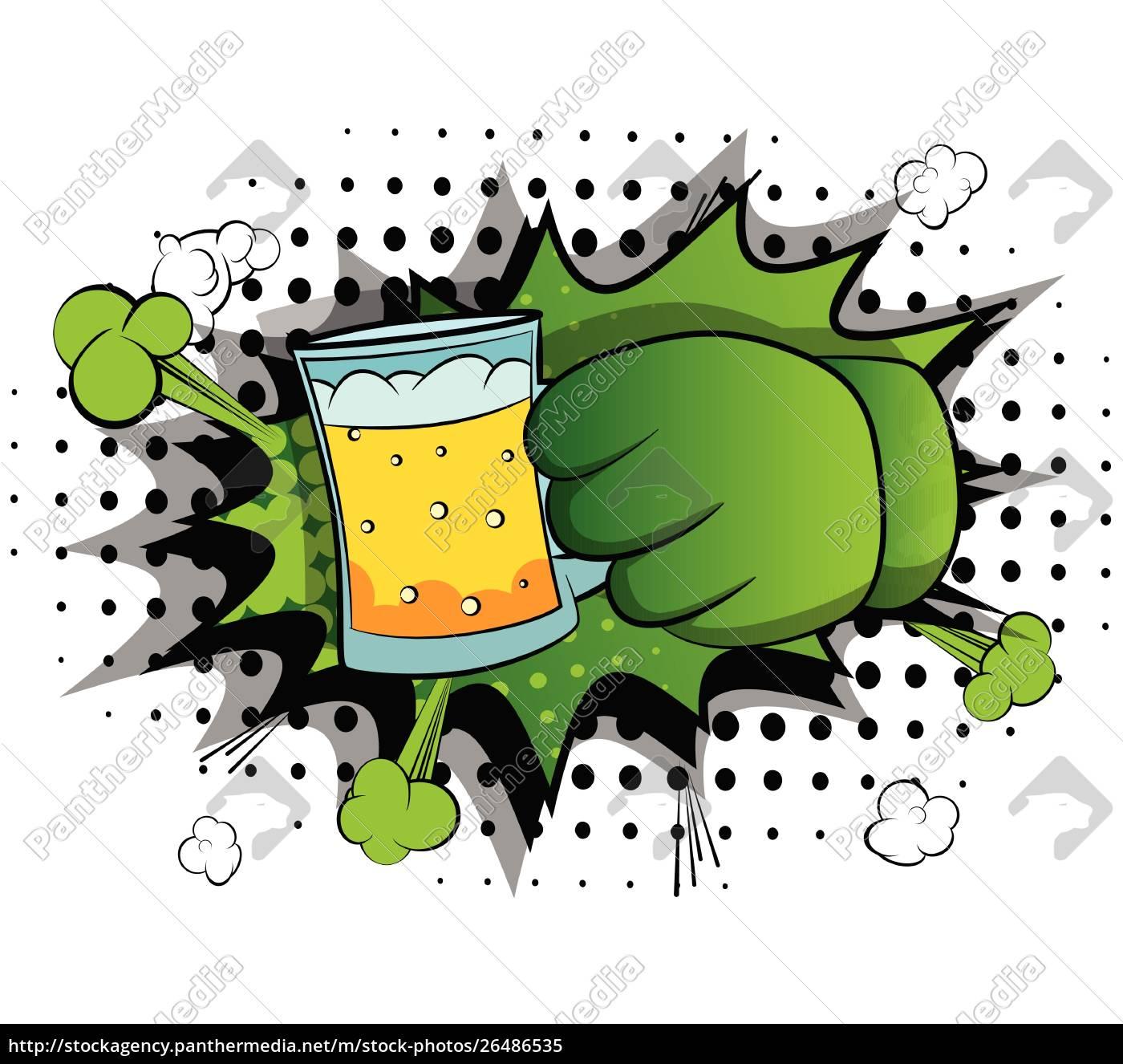 cartoon, hands, holding, a, beer. - 26486535