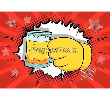 cartoon, hands, holding, a, beer. - 26486590
