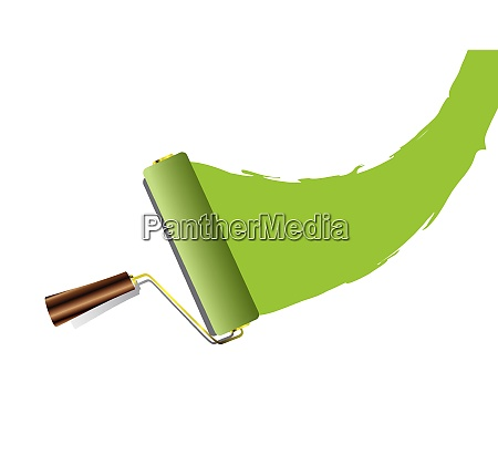 green swoosh paint splat with roller
