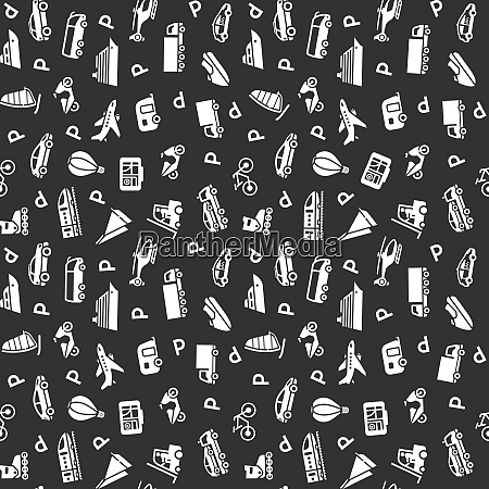 seamless transports white icons pattern wallpaper