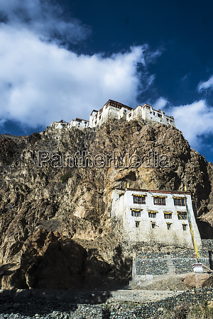 view of kharsha monastery from uphill