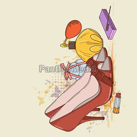 vector background with red shoes and
