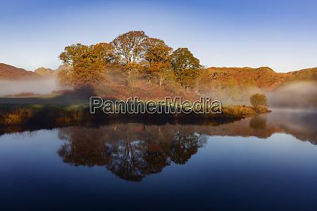 autumn mists swirl around the coppery