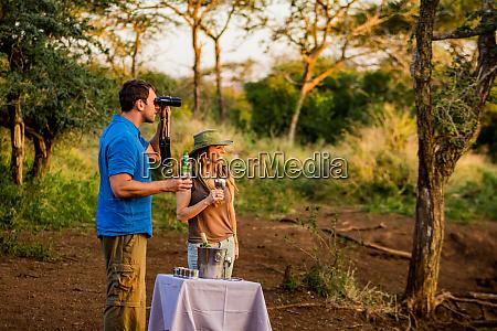 couple enjoying view at a safari