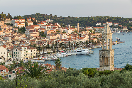 scenic view over hvar town at