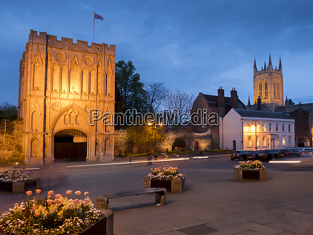 norman gatehouse tower and abbey at