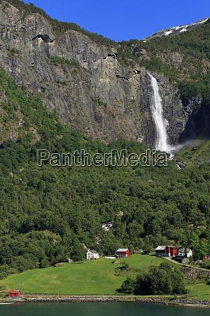 farm and waterfall lustrafjorden sogn og