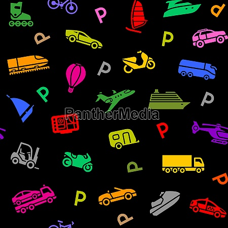 seamless background transport colored icons