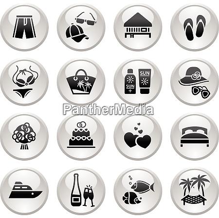 vacation travel recreation icons set